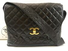 r6187 Auth CHANEL Black Quilted Lambskin CC Turn Lock Leather Strap Shoulder Bag