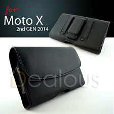 for Moto X 2nd 2014 Premium Black Leather Holster Pouch Case Fit Bulky Case On