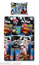 SINGLE BED BATMAN V SUPERMAN CLASH DUVET COVER SET DAWN JUSTICE BLUE RED BLACK