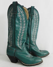 "Abilene Boots Western Green Leather 2"" Heel Size 6.5M"