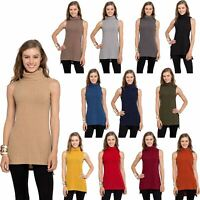 Womens Turtleneck Tunic Tank Top - Sleeveless Ribbed Sweater - USA