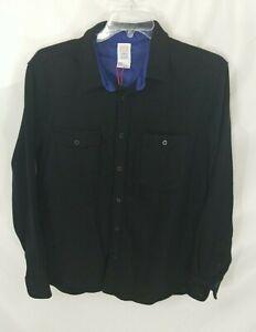 Topo Designs Black Wool Blend Long-Sleeve Button-Front Shirt Mens XL