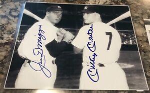 """JOE DiMAGGIO & MICKEY MANTLE Signed 8x10"""" Photo NY YANKEES GREATS w/COA"""
