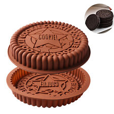 "9"" Round Big Size Oreo Cookie Silicone Cake Mold Pan Pizza Tray Bakeware Tool"