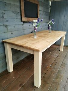 Square chunky legs recliamed rustic pine dinning table 4 foot by 3 foot