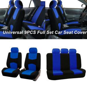 Universal 9PCS Full Set Trucks Car Seat Covers Lowback Flat Cloth Washable Blue