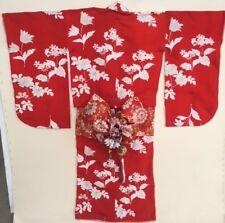 Vintage Girls Kimono Red White Obi Belt Butterlies