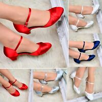Ladies Womens Satin Shoes Mary Jane pumps Evening Office Low Heel Kitten Heel