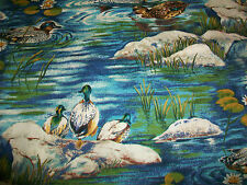SWIMMING DUCKS WITH LILY PADS, REEDS & ROCKS COTTON QUILT FABRIC