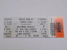 Baltimore Orioles v New York Yankees MLB Baseball Vintage Ticket Stub Sep 6 2012