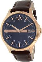 Armani Exchange Men's Hampton AX2172 Gold Leather Japanese Quartz Dress Watch