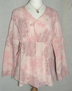 NEW BUSINESS BUMP Long Sleeve Pink Cotton Maternity Nursing Tunic Top UK 16 & 18