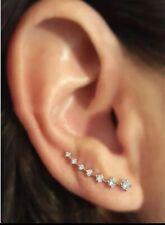 925 Sterling -silver Stud Earrings Zircon stone Uk Seller Ear Climbers Cuff UK