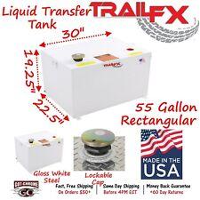 210551S TrailFX 55 Gallon Rectangular White Steel Auxillary Transfer Fuel Tank