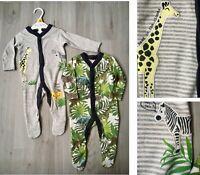 Ex Store New Baby Boys 2 Pack Cotton Jungle Animals Camo Sleepsuits Babygrow