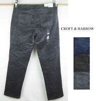 NEW Women's Croft & Barrow straight mid rise corduroy cords jeans petite sizes