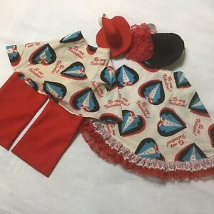 Concrete Lawn Goose Outfit  Mr & Mrs Valentine Lightweight Red White  Lace Torn