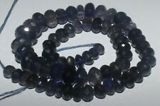 133CARTS 6to10MM NATURAL GEMSTONE IOLITE FACETED RONDELLE BEADS STARND #981