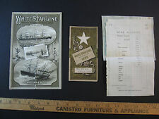 RARE LOT of 3- 1882 Steamship White Star Line Advertising Brochure Germanic etc