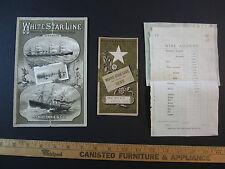 RARE LOT of 3- 1882 Steamship White Star Line Advertising Brochure Germanic etc