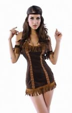 Brown Pocahontas Halloween Costume Native American Princess Suede S/M C9138