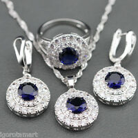 Blue Sapphire 925 Sterling Silver Jewelry Set Earrings Pendant Necklace Free Box