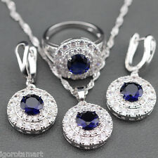 Complete Jewellery Set Earring Necklace Ring Gemed Royal Blue Sapphire Fashions