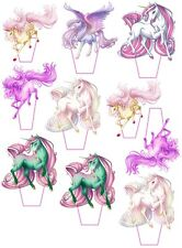 """12 x Unicorn Edible Wafer Card Stand up Cake toppers  PRE_CUT 2.5"""" TALL"""