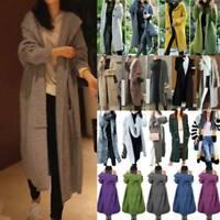 Damen Strickjacke Lange Cardigan Winter Strickmantel Pullover Kapuzen Outwear