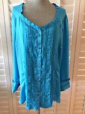 DENIM 24/7 BLOUSE SIZE 26W BLUE SHEER BUTTON FRONT CLOSURE LONG SLEEVES