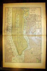 New York City Manhattan Antique Color Map 1901 Cram's 14½ x 22 Toledo Cincinnati