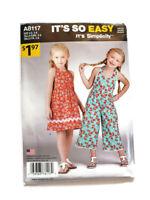 Simplicity A8117 Sewing Pattern Girl Dress Jumpsuit Size 3 4 5 6 7 8 UNCUT