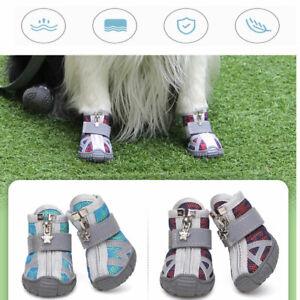 4Pcs Reflective Dog Shoes Breathable Mesh Anti-slip Dog Boots Pet Shoes Large