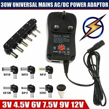 30W Universal AC/DC Power Supply Adaptor UK Plug Charger 3V 4.5V 6V 7.5V 9V 12V