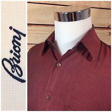 BRIONI Mens 100% Silk Button Dress Casual Shirt Medium Burgundy Made in Italy