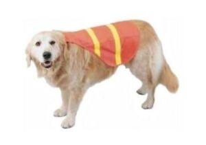 Dog Safety Vest Fluorescent Orange Reflective Tape Medium Pet Size 18 to 40lbs