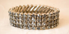 Mixed Materials Expansion Bracelet Light Blue Rhinestone Stainless Steel, Deco