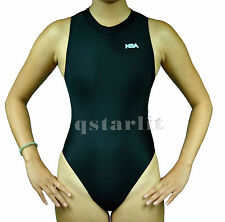 Girls Women Female Endurance Hi-Neck Zip-Up Hydrasuit Water Polo Swimwear Black