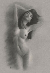 Female Nude ORIGINAL DRAWING Charcoal Art naked woman hands in hair NO RESERVE