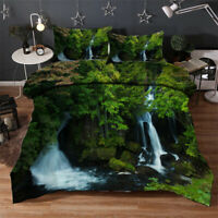Jungle Waterfall 3D Quilt Duvet Doona Cover Set Single Double Queen King Print