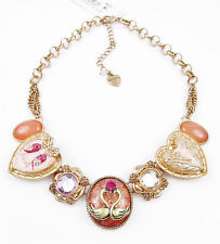 Betsey Johnson LUCKY CHARMS Love Bird Swan Rose Gold-Tone Frontal Necklace NEW