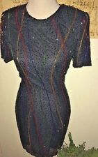 BLACK BEADED SILK COCKTAIL DRESS BY STYLEWORKS FOR NEWPORT NEWS, SIZE 6, NWT