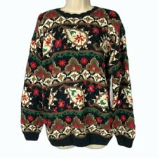 Signatures Northern Isles Sweater XL Hand Knit Cotton Ramie Floral NWT