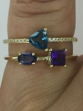 10KT London Blue Topaz, Amethyst, Iolite & White Topaz Ring Size 7 $429 Retail