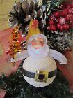 VINTAGE WHITE SANTA PUTZ & MOLDED PAPERMACHE FACE TENSIL TREE CHRISTMAS ORNAMENT