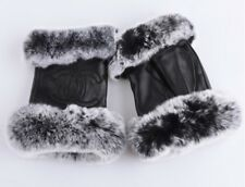 New Womans Chanel Black Lambskin Leather Fur Fingerless Hand Gloves Mittens NWOT