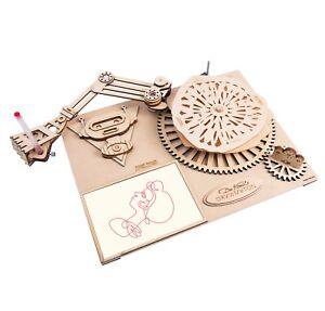 Da Vinci's Drawmation Robot 3D DIY Model Kit Wooden Mechanical Gear UK Stock