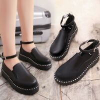 Ladies Round Toe Ankle Buckle Platform Chunky Sole Creepers Shoes Comfortable
