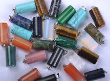 Lots 10pcs Beautiful Mixed Gemstone cylindrical Pendant Bead Mayan 20MM