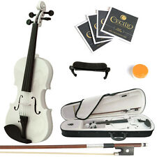 Mendini Size 1/4 Solidwood Violin Metallic White+ShoulderRest+ExtraStrings+Case